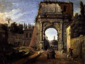 Rome, view of the Arch of Titus with figures strolling by 