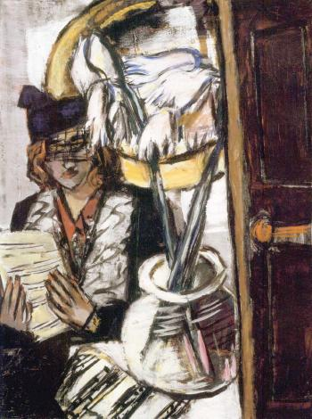 Woman with flowers by 
