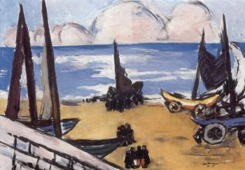 Beached boats by  Max Beckmann