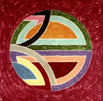 Sinjerli variation squared with coloured ground by  Frank Stella
