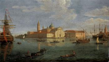 Island of San Giorgio Maggiore, Venice. The entrance to the Grand Canal by  Gaspar van Wittel