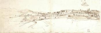View of Urbino from San Donato, with a study of a cathedral dome by  Gaspar van Wittel