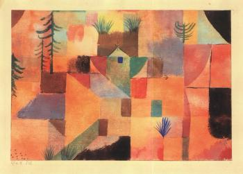 Landscape in orange with brown colour rhythm by PAUL KLEE
