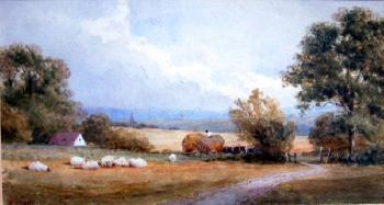 Landscape with hay cart and sheep by SAMUEL STANDIGE BODEN