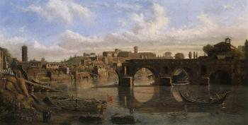 Rome, view of the Tiber with Ponte Rotto by  Gaspar van Wittel