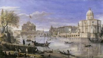 View of the Tiber with Castel Sant'Angelo and a church by 