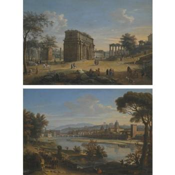 Rome, A View Of The Campo Vaccino With The Arch Of Septimius Severus And The Temple Of Saturn; A View Of Florence From The Cascine by  Gaspar van Wittel