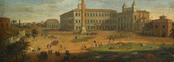 Rome, a View Of Piazza San Giovanni Laterano With Figures And Horse-drawn Carts by  Gaspar van Wittel