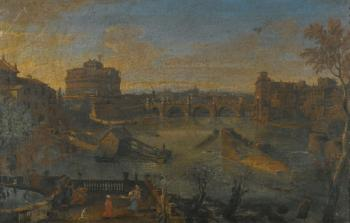 Rome, The Castel Sant'angelo And The River Tiber From The South by  Gaspar van Wittel
