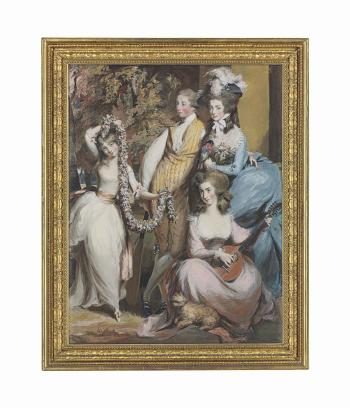 A full length portrait of Mary Sturt of Crichel (1740-1807) standing with her three eldest children, Diana, Mary and Humphry by DANIEL GARDNER