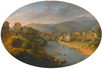 Tivoli, A View Of The Town And The River Aniene Before The Old Waterfall by  Gaspar van Wittel