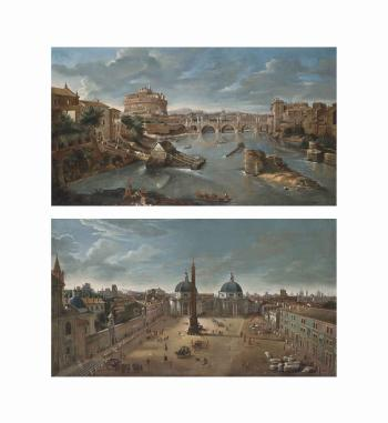 A view of the Tiber, Rome, with Castel Sant'Angelo; and Piazza del Popolo, Rome, looking south towards the churches of Santa Maria di Monte Santo and Santa Maria dei Miracoli by  Gaspar van Wittel