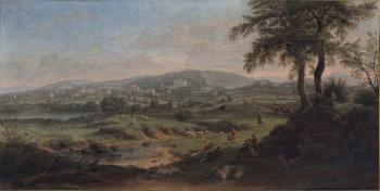 Frascati, with shepherds and their flock resting by a stream in the foreground, other figures on a road beyond by  Gaspar van Wittel
