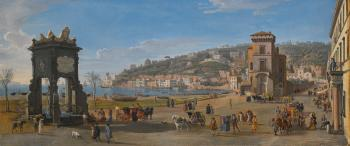 Naples, a view of The Riviera Di Chiaia by  Gaspar van Wittel