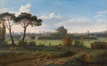 Rome, a view of the Castel Sant'Angelo from Prati by  Gaspar van Wittel