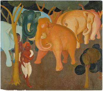 Untitled (Elephants in a Forest) by GOVIND MADHAV SOLEGAONKAR