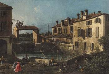 Dolo, on the Brenta by  CANALETTO