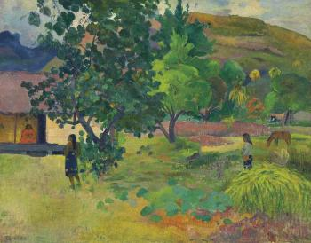 Te Fare (La maison) by PAUL GAUGUIN