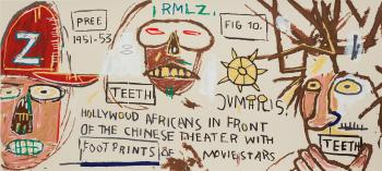 Hollywood Africans in front of the Chinese Theater with Footprints of Movie Stars by JEAN-MICHEL BASQUIAT