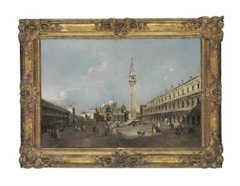 La place Saint-Marc avec la basilique et le campanile by FRANCESCO GUARDI