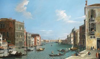 The Grand Canal, Venice, looking East with the Doge's Palace and the Punta della Dogana in the distance by  CANALETTO