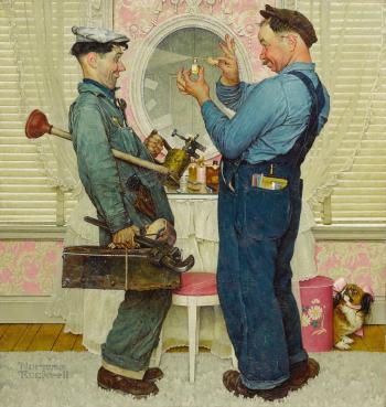 Two Plumbers by NORMAN ROCKWELL