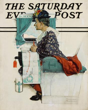 First Flight (Old Woman Riding Airplane) by NORMAN ROCKWELL