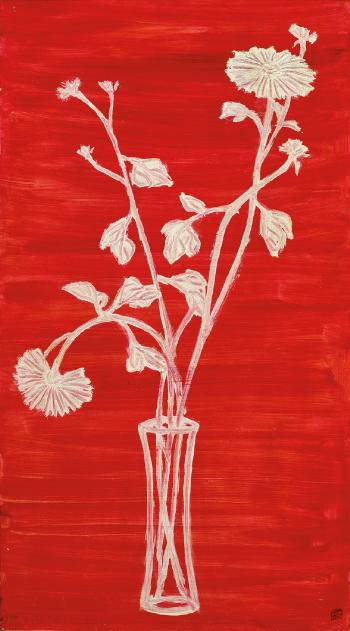 Vase of Chrysanthemums with Red Ground by SAN-YU