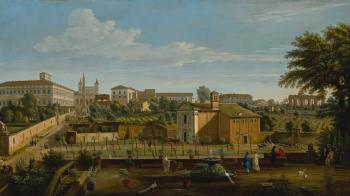 Rome, A View Of The Church Of Santi Marcellino E Pietro, From The Vigna Ciccolini, With The Palazzo Laterano, The Church Of San Giovanni In Laterano, The Ospedale Di San Giovanni And Ruins Of The Claudian Aqueduct Beyond by  Gaspar van Wittel