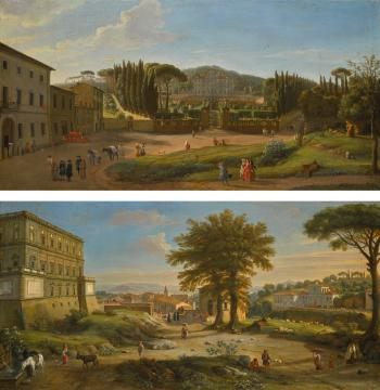 Two Landscapes With The Villa Aldobrandini At Frascati And The Villa Farnese At Caprarola by  Gaspar van Wittel