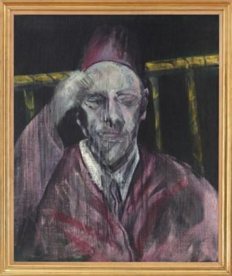 Head with raised arm by FRANCIS BACON