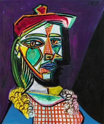 Femme Au Beret Et A La Robe Quadrillee (Marie-therese Walter) by PABLO PICASSO
