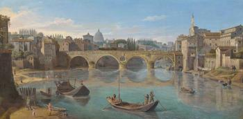The Tiber, Rome, with the Ponte Sisto by  Gaspar van Wittel