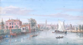 A view of Amersfoort from the north with various vessels on the River Eem in the foreground, the Onze Lieve Vrouwetoren (Tower of Our Lady) beyond by  Gaspar van Wittel