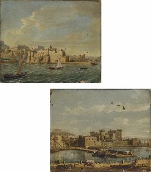 Naples from the Sea, looking North East towards the Castel dell'Ovo, with the Castel Sant'Elmo and the Certosa di San Martino beyond. The Darsena, Naples, with the Castel Nuovo and the Castel Sant'Elmo beyond. by  Gaspar van Wittel