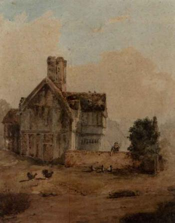 Feeding the chickens from a cottage garden by David Cox