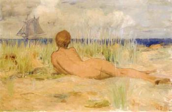 Nude on the beach painting