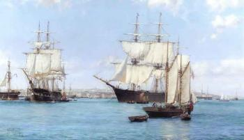 View of Boston Harbour, with the American clipper Chariot Of
