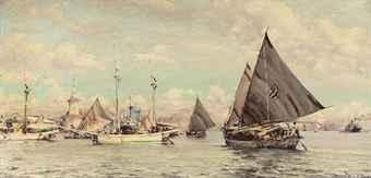 Shipping in the habour of Surabaya by WILLEM VAN DER DOES