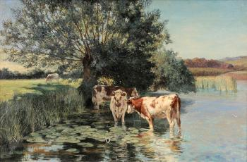 Cows watering in a pond by WILLIAM BLISS BAKER