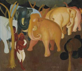 Elephants in a forest by GOVIND MADHAV SOLEGAONKAR