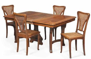 Art Nouveau Dining Table And Four Chairs By EDOUARD DIOT