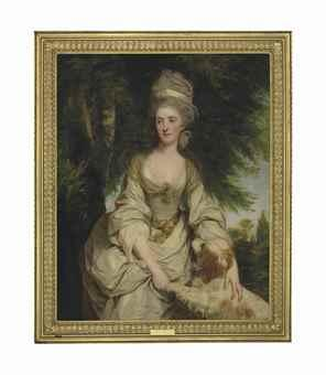 Portrait of Lucy Long, Mrs George Hardinge (d. 1820), three-quarter-length, in a white dress with a sheer brown scarf, a ribbon and pearls in her hair, with a spaniel, in a landscape by JOSHUA REYNOLDS