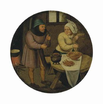 A woman making sausages by PIETER BRUEGHEL