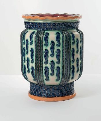 Grand Vase Aux Hypocampes By Ernest Dhossche By Boch Freres Keramis
