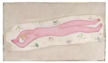 Pink nude on floral sheet by  SAN-YU