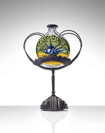 A Unique Peacock Mosaic Vase On Stand Circa 1922 By Umberto