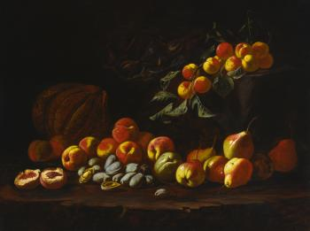 Still Life Of Peaches, Pears, Quince, Figs, Melon And Other Fruit by 