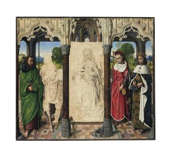 The Virgin and Child with Saints Thomas, John the Baptist, Jerome and Louis by HUGO VAN DER GOES