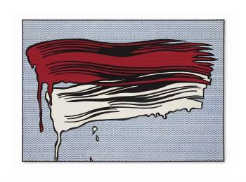 Red and White Brushstrokes by ROY LICHTENSTEIN